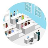 Isometric flat 3D concept vector interior university auditorium. Students sitting at desks and listening to the teacher. education training Royalty Free Stock Image