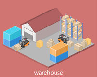 Isometric flat 3D concept  warehouse outside Stock Photo
