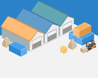 Isometric flat 3D concept  warehouse outside. Royalty Free Stock Photo