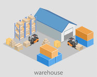 Isometric flat 3D concept  warehouse outside. Royalty Free Stock Images