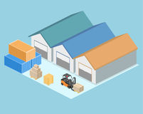 Isometric flat 3D concept  warehouse outside. Royalty Free Stock Image
