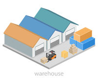 Isometric flat 3D concept  warehouse outside. Stock Photography