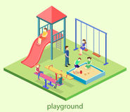 Isometric flat 3D concept web  kids playground set. Children swings, slide, sandbox and other objects Stock Photo