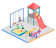 Isometric flat 3D concept web  kids playground set. Children swings, slide, sandbox and other objects Stock Images