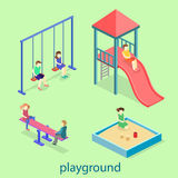 Isometric flat 3D concept web  kids playground set. Royalty Free Stock Photography