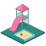 Isometric flat 3D concept web  kids playground set. Royalty Free Stock Image
