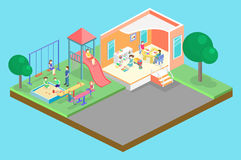 Isometric flat 3D concept web  kids playground set. Royalty Free Stock Photo