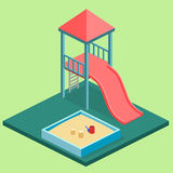 Isometric flat 3D concept web  kids playground set. Royalty Free Stock Photos