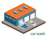 Isometric flat 3D   cutaway building car wash service. Isometric flat 3D  concept  cutaway building car wash service Royalty Free Stock Photography