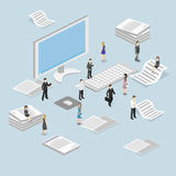 Isometric flat 3D   cutaway interior office workplace with people. Stock Photos