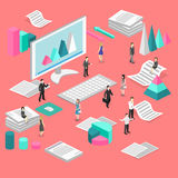 Isometric flat 3D   cutaway interior office workplace with people. Royalty Free Stock Images