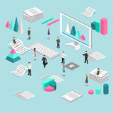 Isometric flat 3D   cutaway interior office workplace with people. Royalty Free Stock Photography