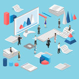 Isometric flat 3D   cutaway interior office workplace with people. Stock Photo