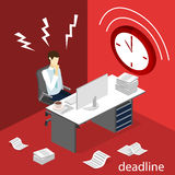Isometric flat 3D  Deadline Concept of overworked man. Isometric flat 3D isolated concept  Deadline Concept of overworked man. Time to work Royalty Free Stock Image