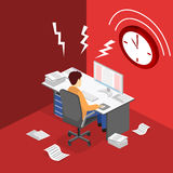 Isometric flat 3D  Deadline Concept of overworked man. Isometric flat 3D isolated concept  Deadline Concept of overworked man. Time to work Royalty Free Stock Images