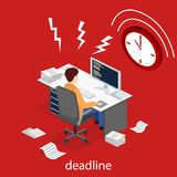 Isometric flat 3D  Deadline Concept of overworked man. Isometric flat 3D isolated concept  Deadline Concept of overworked man. Time to work Royalty Free Stock Photography