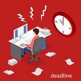 Isometric flat 3D  Deadline Concept of overworked man. Isometric flat 3D isolated concept  Deadline Concept of overworked man. Time to work Stock Photography