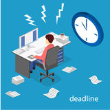 Isometric flat 3D Deadline Concept of overworked man. Isometric flat 3D  concept Deadline Concept of overworked man. Time to work Stock Images