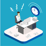 Isometric flat 3D Deadline Concept of overworked man. Isometric flat 3D  concept Deadline Concept of overworked man. Time to work Stock Photos
