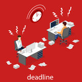 Isometric flat 3D Deadline Concept of overworked man. Isometric flat 3D  concept Deadline Concept of overworked man. Time to work Royalty Free Stock Image