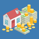 Isometric flat 3D  House and real estate money investment. Isometric flat 3D isolated  property Investment concept. House and real estate money investment Royalty Free Stock Photo