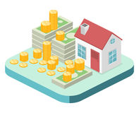 Isometric flat 3D  House and real estate money investment. Isometric flat 3D isolated  property Investment concept. House and real estate money investment Royalty Free Stock Photography