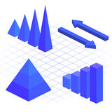 Isometric flat 3D infographic elements with data icons and design elements. Vector illustration Stock Photo