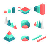 Isometric flat 3D infographic elements with data icons and design elements. Vector illustration Stock Photos