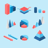 Isometric flat 3D infographic elements with data icons and design elements. Vector illustration Royalty Free Stock Image