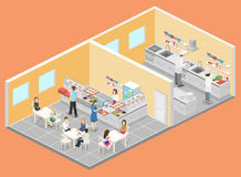 Isometric flat 3D interior of cafe, canteen and restaurant kitchen. Royalty Free Stock Images