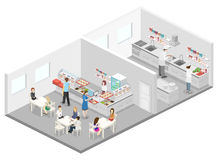 Isometric flat 3D interior of cafe, canteen and restaurant kitchen. Stock Photos