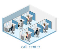 Isometric flat 3D interior call center. Customer support. Royalty Free Stock Photos