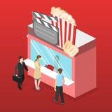 Isometric flat 3D  interior of cinema theater box office. Isometric flat 3D concept  interior of cinema theater box office Stock Photo
