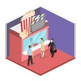 Isometric flat 3D  interior of cinema theater box office. Isometric flat 3D concept  interior of cinema theater box office Stock Photography