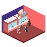 Isometric flat 3D  interior of cinema theater box office. Isometric flat 3D concept  interior of cinema theater box office Stock Image