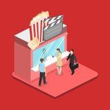 Isometric flat 3D  interior of cinema theater box office. Isometric flat 3D concept  interior of cinema theater box office Royalty Free Stock Photos