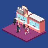 Isometric flat 3D  interior of cinema theater box office. Isometric flat 3D concept  interior of cinema theater box office Royalty Free Stock Photo