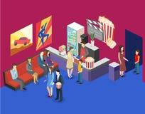 Isometric flat 3D interior of cinema waiting hall. cinema cafe Royalty Free Stock Image