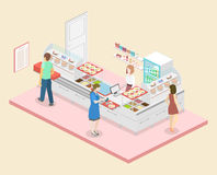 Isometric flat 3D  interior of a coffee shop or canteen. Stock Image