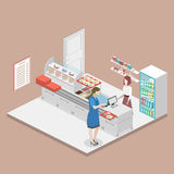 Isometric flat 3D  interior of a coffee shop or canteen. Royalty Free Stock Photo
