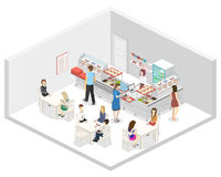 Isometric flat 3D  interior of a coffee shop or canteen. People sit at the table and eating. Stock Photo