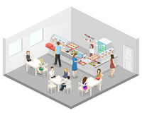 Isometric flat 3D  interior of a coffee shop or canteen. People sit at the table and eating. Isometric flat 3D concept  interior of a coffee shop or canteen Royalty Free Stock Photos