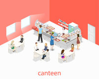 Isometric flat 3D  interior of a coffee shop or canteen. People sit at the table and eating. Royalty Free Stock Images