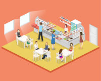 Isometric flat 3D  interior of a coffee shop or canteen. People sit at the table and eating. Stock Photography