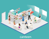 Isometric flat 3D  interior of a coffee shop or canteen. People sit at the table and eating. Stock Images