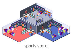 Isometric flat 3D  interior goods for the sports shop. Stock Photo
