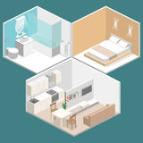 Isometric flat 3D  interior kitchen, bathroom, living room bedroom. Isometric flat 3D concept  interior of studio apartments with kitchen, bathroom, living room Stock Image