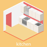 Isometric flat 3D interior of kitchen. full set of kitchen furniture  ilustration. Stock Photography