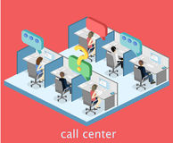 Isometric flat 3D interior working with headset in call center. Royalty Free Stock Image