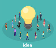 Isometric flat 3D isolated  business idea concept. People Innovation. Royalty Free Stock Photography